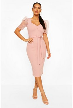 Blush Organza Mesh Puff Sleeve Midi Dress