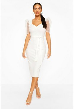 Ivory Organza Mesh Puff Sleeve Midi Dress