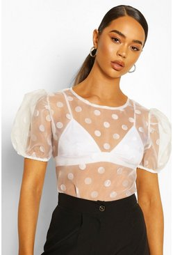 White Puff Sleeve Polka Dot Organza Mesh Top