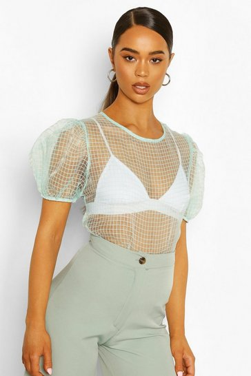 Mint Puff Sleeve Check Organza Mesh Top