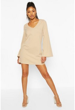 Stone Wide Sleeve Shift Dress
