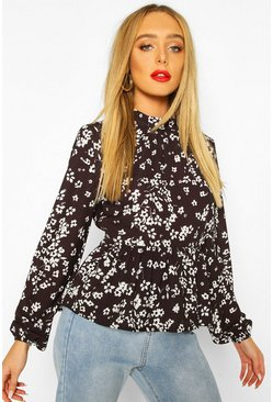 Black Ditsy Floral Blouse