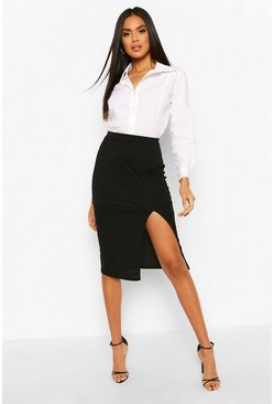Black Slit Front Midi Skirt