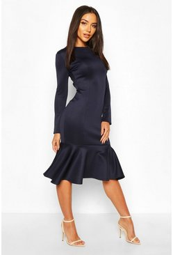 Navy Long Sleeve Fish Tail Midi Dress