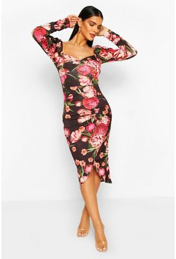 Black Floral Knot Front Rouche SIde Midi Dress