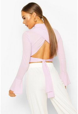 Lilac Turtle Neck Tie Back Top With Fluted Sleeves