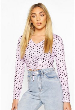 Lilac Mock Tie Front Top With Lettuce Hem