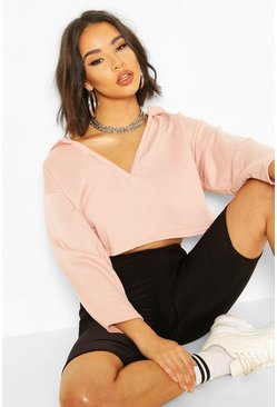 Dusty rose V Neck Hooded Slouch Top