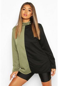 Khaki Colour Block Turtle Neck Sweat Top