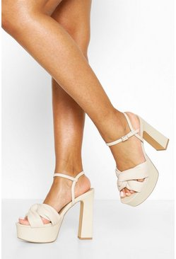 Cream Knot Front High Platform Heels
