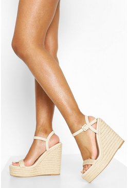 Beige Two Parts Espadrille Wedges