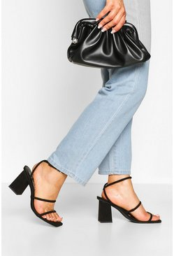 Black Triple Strap Block Heels