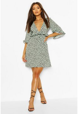 Mint Ruffle Detail Smock Dress In Dalmatian Print
