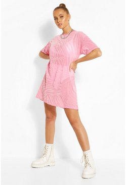 Pink Mesh T-Shirt Dress With Tonal Flock