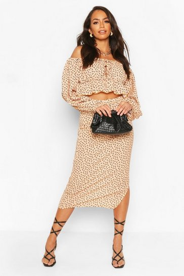 Nude Moon Print Gypsy Top & Midi Skirt Co-ord