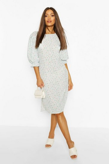 Blue Floral Print Side Split Midi Dress