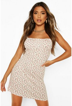 White Ditsy Floral Strappy Mini Dress