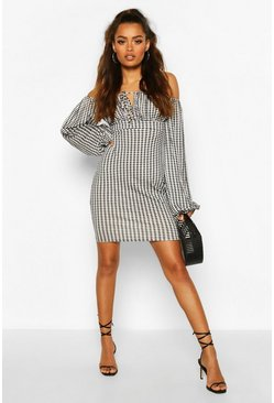 Tie Front Gingham Off The Shoulder Mini Dress