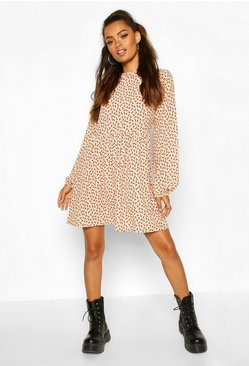 Nude Moon Print Mini Dress With Keyhole Back