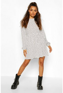 White Moon Print Mini Dress With Keyhole Back