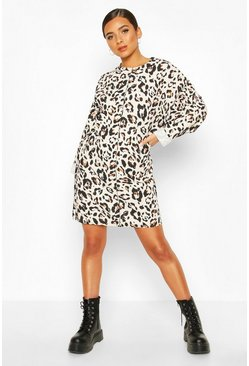 Cream Leopard Print Sweat Dress With Overlock Detail