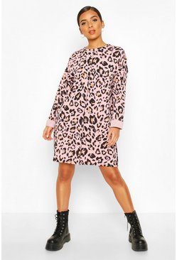 Rose Leopard Print Sweat Dress With Overlock Detail
