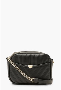 Black Chevron Quilted Zip Around Cross Body Bag