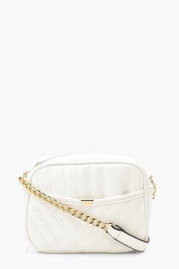 White Chevron Quilted Zip Around Cross Body Bag