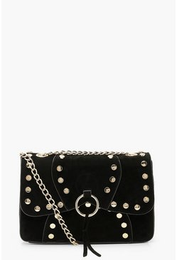 Black Suedette Stud Detail Cross Body Bag