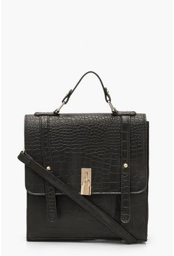 Black Croc Padlock Detail Satchel With Strap