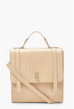 Cream Croc Padlock Detail Satchel With Strap