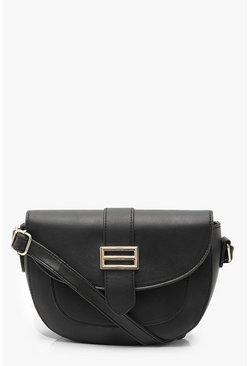 Black PU Trim Detail Cross Body Bag