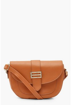 Tan PU Trim Detail Cross Body Bag