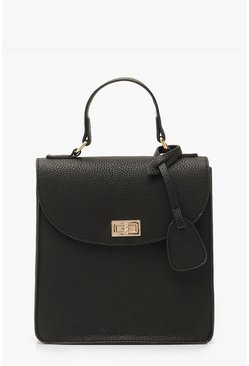 Black Textured PU Lock & Tab Bag With Strap