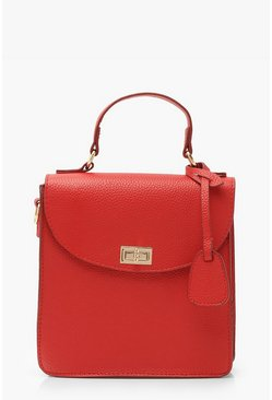Red Textured PU Lock & Tab Bag With Strap