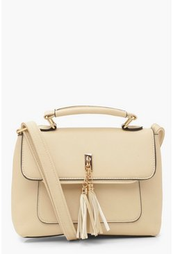 Cream Smooth PU Tassel Detail Cross Body Bag