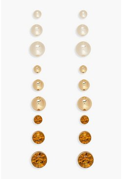 Gold Mixed Diamante & Pearl Stud Earring 9 pk