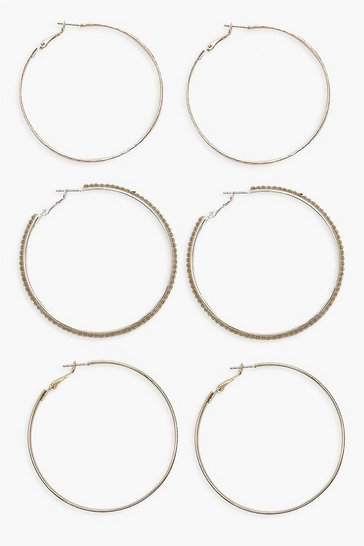 Gold 6cm Mixed Hoop Earring 3 Pack