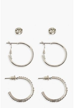 Silver Diamante Hoop & Stud 3 Pack