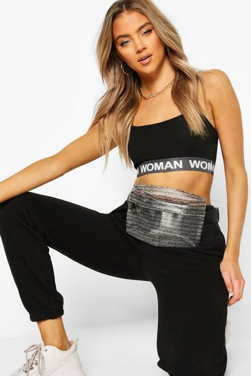 White Woman Script PVC Bum Bag