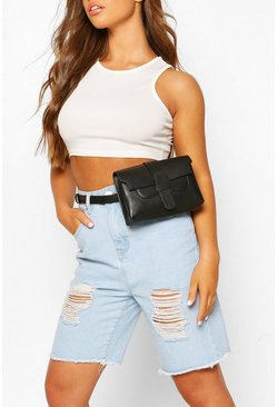 Black PU Tab Detail Bum Bag