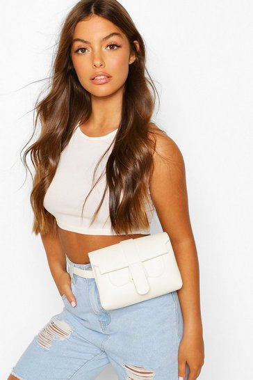 White PU Tab Detail Bum Bag