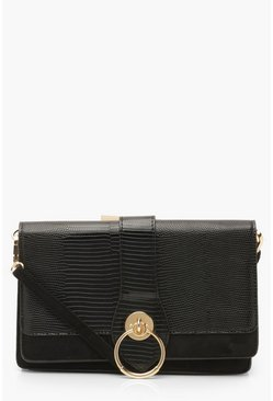 Black Lizard PU Snake Buckle Cross Body Bag