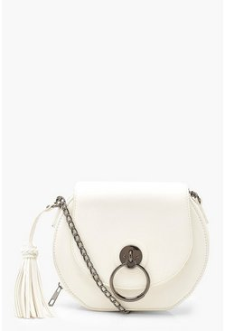 White PU Tassel Detail Cross Body Bag