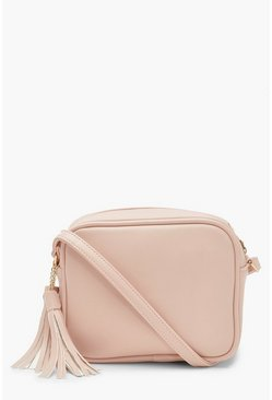 Pink PU Zip Around Cross Body Bag With Tassel