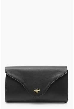 Black Smooth PU Metal Bee Clutch Bag With Chain