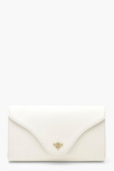 White Smooth PU Metal Bee Clutch Bag With Chain