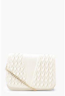 White PU Pleat Detail Cross Body Bag & Chain