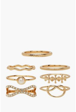 Gold Knot & Textured Stacking Ring 7 Pack