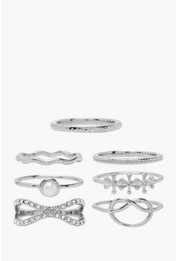 Silver Knot & Textured Stacking Ring 7 Pack